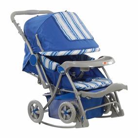 Carrinho De Bebê Berço Balanço Reversível Azul - Dardara