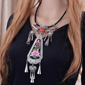 Hermoso Collar Tejido,diseño Tribal, Maxicollar
