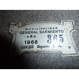 Patente Coche Reparto Municipalidad General Sarmiento 1966