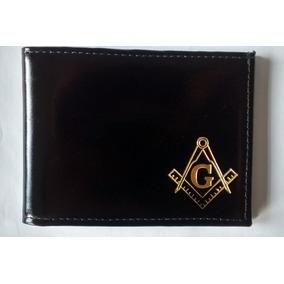 Carteira Maçônica Porta Cédulas Preta Com Dourado