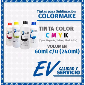 Tinta Para Sublimación Colormake Kit 4 Tintas Cmyk 60 Ml C/u