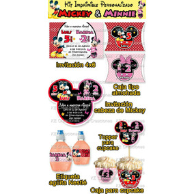 Kit Imprimible Cumpleaños Mickey Mouse Minnie Invitaciones