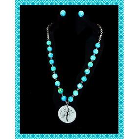 Collar Arbol De Acero Inoxidable Y Jade, Joyeria Fina