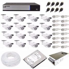 Kit Cftv Hd Luxvision Dvr 16 Canais 16 Câmera Ahd + 200mts