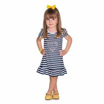 Vestido Infantil De Listras De Verão Meninas 1 A 3 Anos