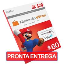 Cartão $60 Nintendo Us Card Eshop 3ds/wii U (3x $20)