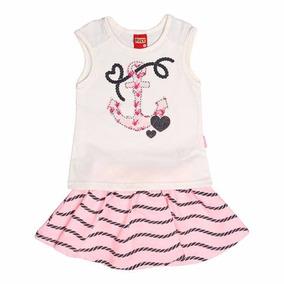 Conjunto Infantil Blusa+short Saia Off White&rosa - Kyly - G