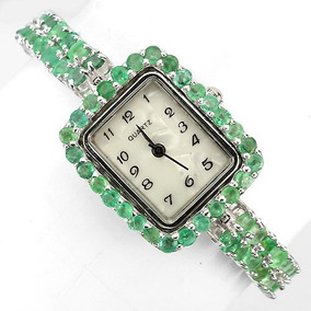 Relógio Feminino Prata 925 Rodinada Esmeraldas Naturais