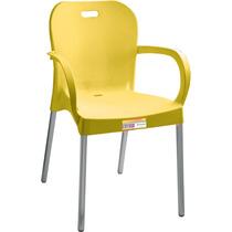 Cadeira Com Braço E Pé De Alumínio Amarela Paramount