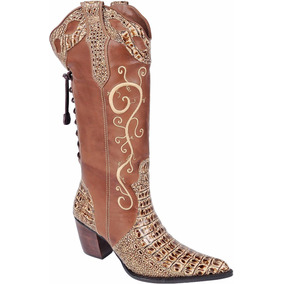 Bota Feminina Texana Country Couro Cano Bordado Franca