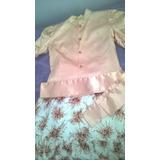 Conjunto De Camisa Rasada Y Pollera Tipo Seda Estampada