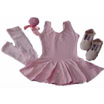 Kit Roupa Uniforme Figurino Ballet Jazz Aulas Infantil Df