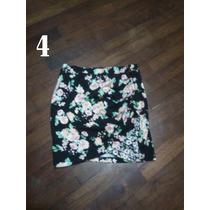 Falda Negra Pegada Con Flores