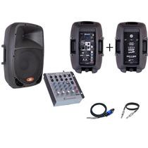 Caixa Ativa 10 Bluetooth + Passiva 10 + Mesa Som 4 Canal Kit