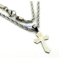 Pingente Crucifixo Oração + Corrente Trançada Aço Inox 316l