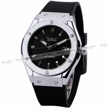 Relógio Esporte Jaguar Prata Pulseira De Borracha