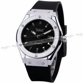 Relógio Masculino Esporte Jaguar Prata Pulseira De Borracha