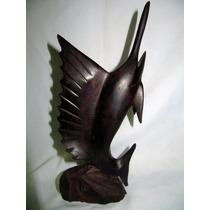 Estatuilla De Madera-pez Vela Tallada A Mano 27 Cm-art-deco