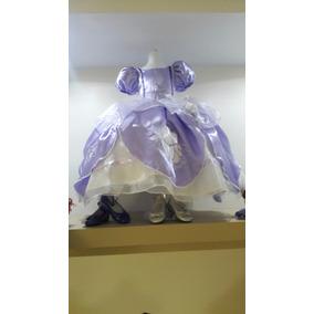 Vestido Princesa Disfraz Princesa Sofía Corona Amuleto Zapat