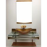 Gabinete Vidro Banheiro 70 Cm Dourado + Misturador Dourado