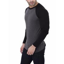 Camisa Camiseta Raglan Masculina Manga Longa Algodao Slim