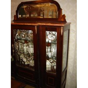 Cristaleira Anos 20 - Art Nouveau, Madeira De Lei Conservada