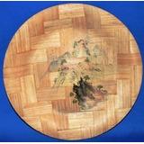 Prato Em Bambu, Artesanato Chinês, 1980 Aprx, Bom Estado