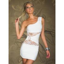 Sexy Mini Vestido Asimetrico Blanco Un Solo Tirante Encaje