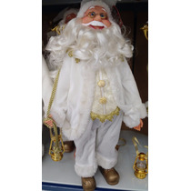 Papai Noel Roupa Branca 40 Cm Versão Luxo Decoração Natal