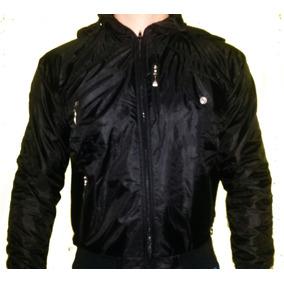 Chaqueta Casual Negra Con Capucha (motorizado, Abrigo)