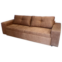 Sofa Con Cama Nido P/colchon Ind. Tymi Megan Tela Chocolate