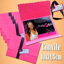 50 Convites 15 Anos Pink/preto 10x14,5cm Com Foto