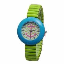 Reloj Tuogi Azul Con Verde Ancla Moda Dama **.-