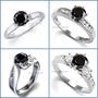 Anillo De Compromiso Diamante Negro .33ct Oro Blanco 14k