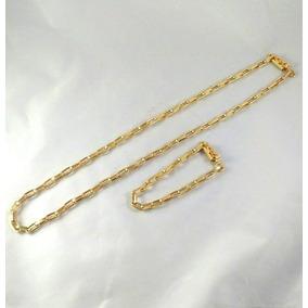 Lindo Cordao Corrente + Pulseira Banhadas A Ouro 18k Luxo