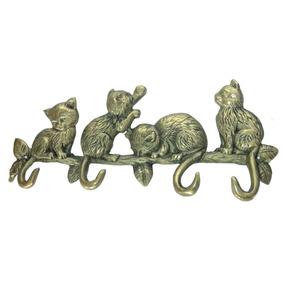 Porta Chaves Cabide Gatos Bronze Decoração Presentes Animais