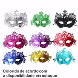 10 Máscaras Gala Luxo Veneza Carnaval - Cores Sortidas
