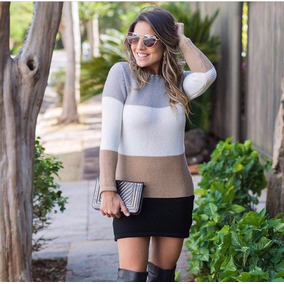 Blusa Comprida Blusão Tricot Trico Lã Mini Veste Feminino