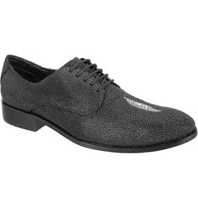 Sapato Exótico Silverado Couro De Arraia Cor Preto