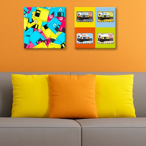 Cuadros Decorativos 2 Pz 30x30 Cassettes Pop Art