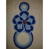 Porta Pano De Prato Em Crochê Azul