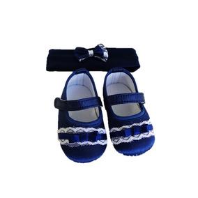 Kit Recem Nascido Sapato Tiara Kit Pimpolho Azul 004869