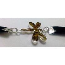 Pulsera De Ámbar Y Gamuza (libélula). Envío Gratis