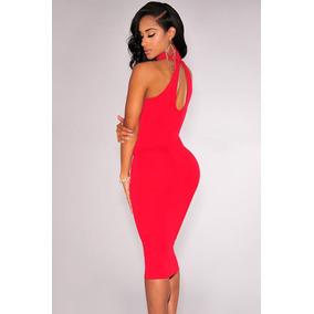 Sexy Mini Vestido Rojo Fiesta Cuello Alto Hombros Desnudos