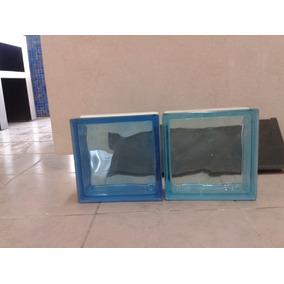 Vidrio Block Azul Cristal 19x19x08 Caja De 6pzas