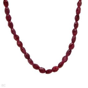 Collar De Plata Chapado En Oro Con Rubies Genuinos
