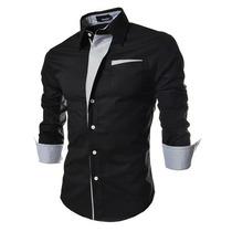 Camisa Social Masculina Blusa Manga Comprida Preta Branca