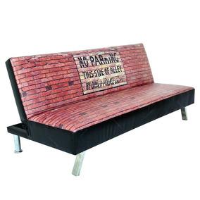 Sofá-cama Loft Brick Wall Em Madeira E Pv S/juros S/frete