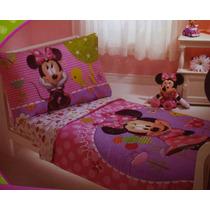 Kit Cama Infantil Niña Edredon Sabana Funda Minnie Mouse