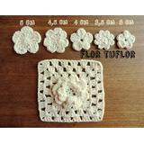 Flor 3 Cm Tejida A Crochet Hilo De Algodón Hay Otras Medidas